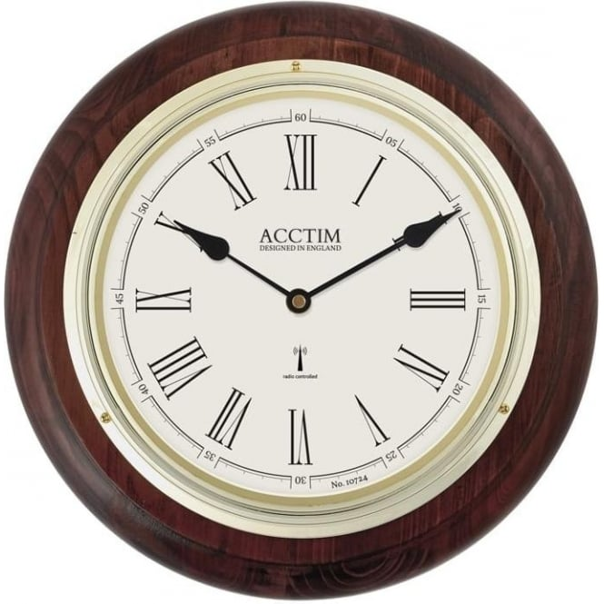 Acctim Radio Controlled Quartz Battery Wooden Wall Clock Thetford 74546