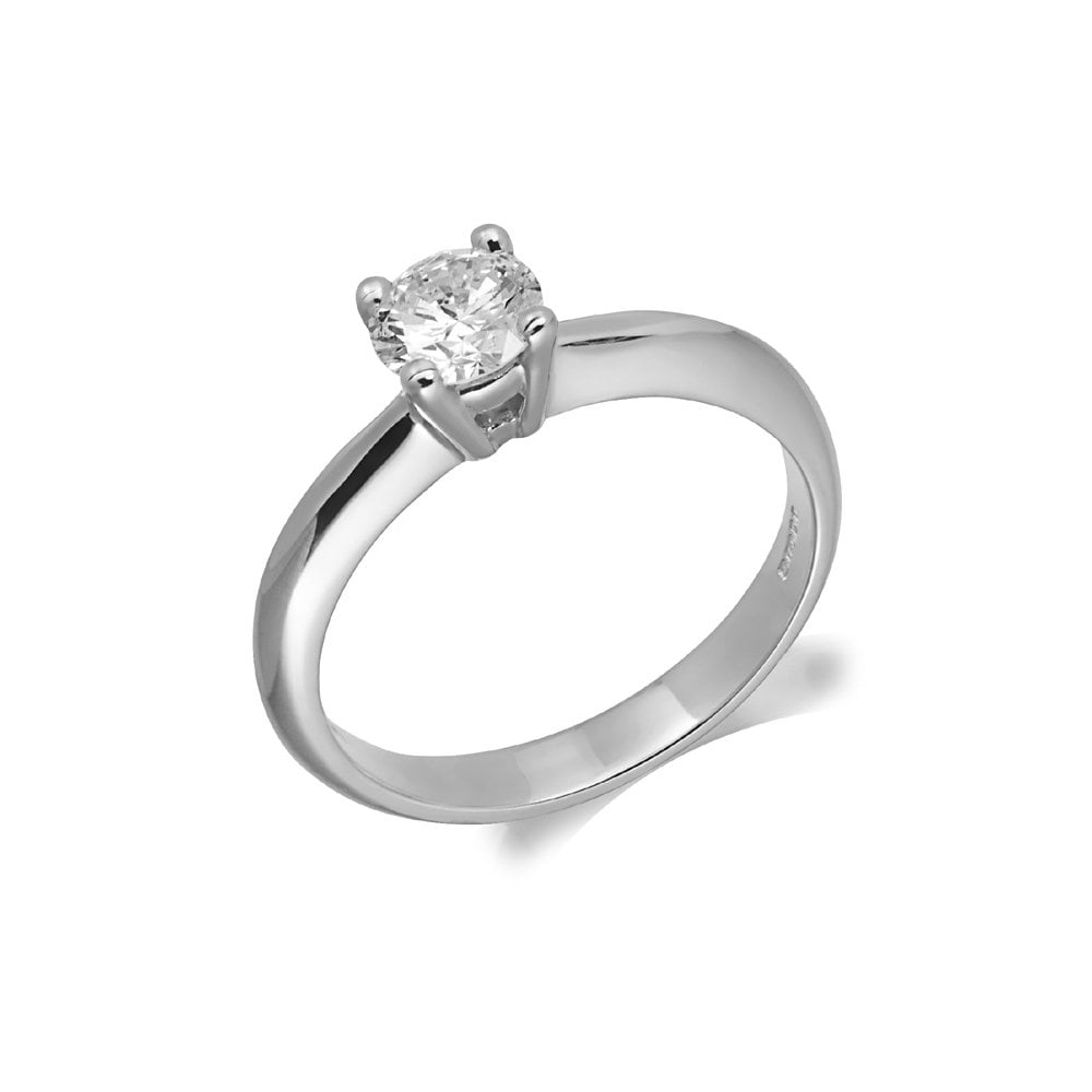 9ct White Gold Single Stone Diamond Solitaire Engagement Ring