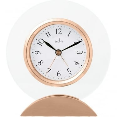 Rose Finish and Glass Quartz Battery Mantle Clock 36830