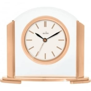 Rose Finish & Glass Quartz Battery Mantle Clock 36840