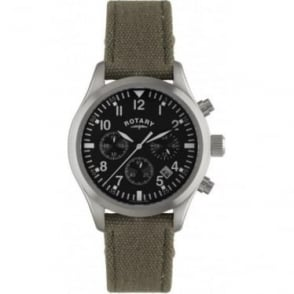 Gents Steel Chronograph Watch on Green Fabric Strap GS02680/19