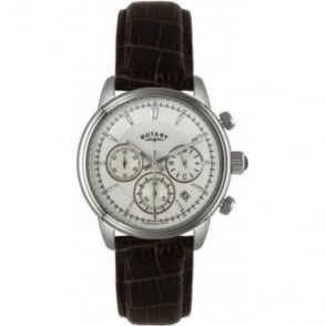 Gents Steel Chronograph Watch on Leather Strap GS02876/06
