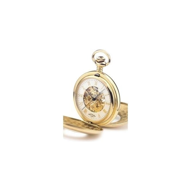 Rotary Watches Gold Finish Mechanical Skeleton Pocket Watch MP00713/01