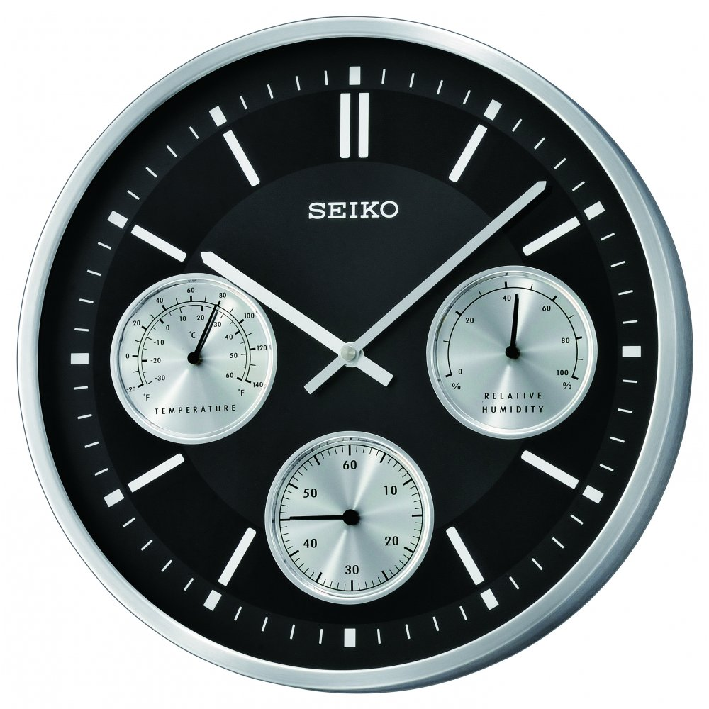 Seiko Round Battery Wall Clock With Temperature And