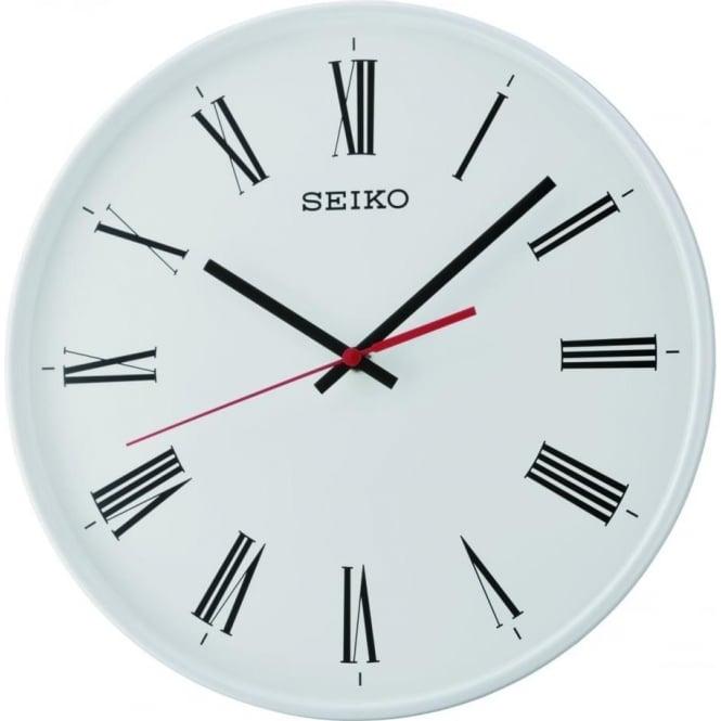Seiko Clocks Round Quartz Battery White Wall Clock QXA701W