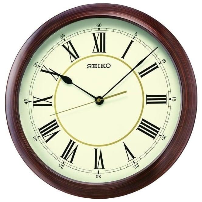 Round quartz wall clock with roman numarals qxa598a for Seiko quartz wall clock