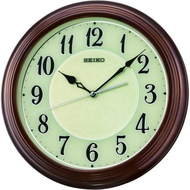 Seiko Clocks Round Seiko Quartz Battery Wooden Wall Clock Arabic Dial QXA667B