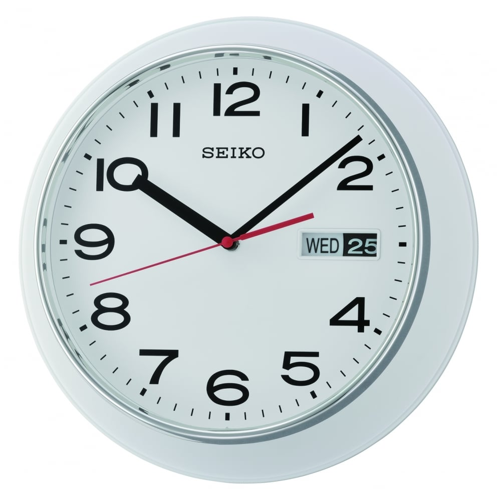 Round White Quartz Battery Day Date Wall Clock Qxf102h