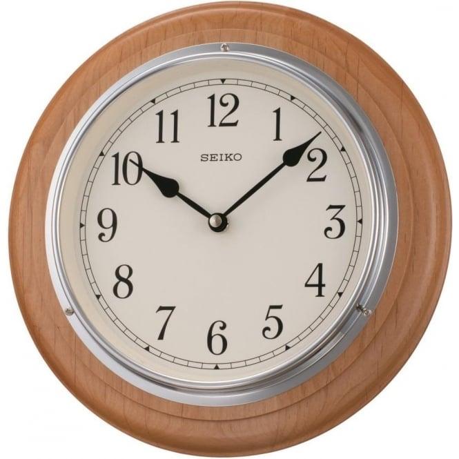 Round wooden seiko wall clock qxa144s for Seiko quartz wall clock