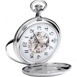 Royal London Silver Finish Mechanical Pocket Watch 90004-02