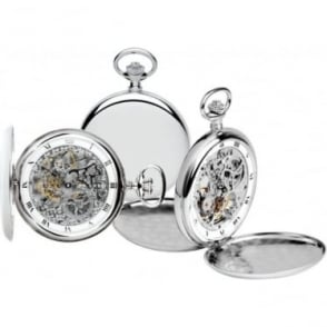 Royal London Silver Finish Mechanical Pocket Watch 90016-01