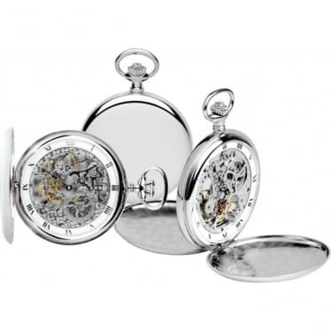 Royal London Silver Finish Mechanical Pocket Watch 90016-01