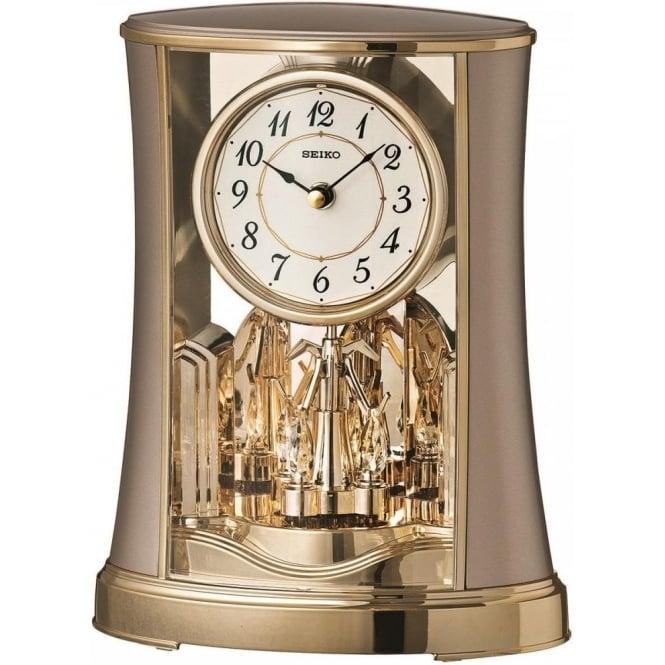 seiko rythm battery mantle clock with rotating pendulum