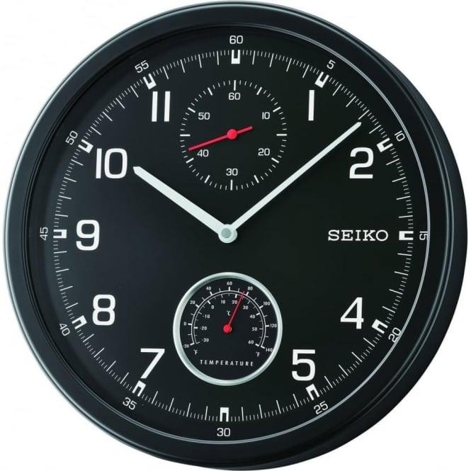 Seiko Clocks Seiko Black Round Wall Clock with Temperature QXA542J