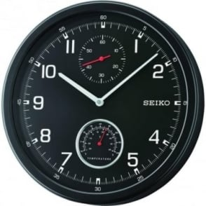 Seiko Black Round Wall Clock with Temperature QXA542J