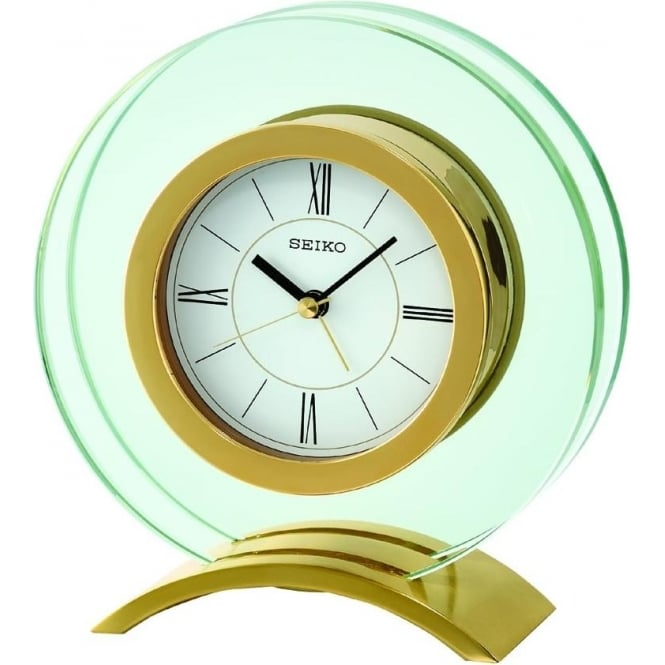 Seiko Clocks Glass Gold Finish Mantle Alarm Clock Height 15cm QHE057G