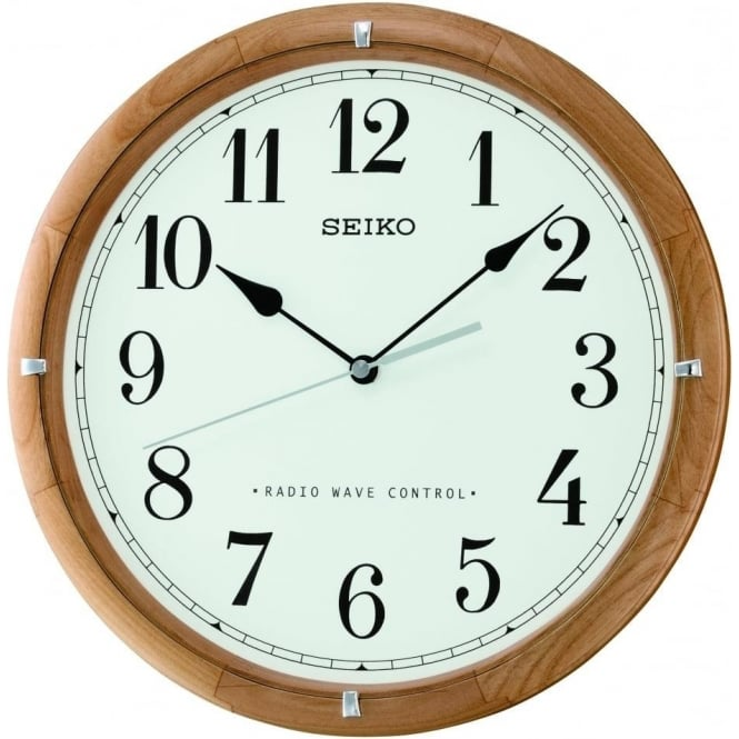 Seiko Clocks Radio Controlled Round Wooden Wall Clock Diameter 31cm QXR303Z