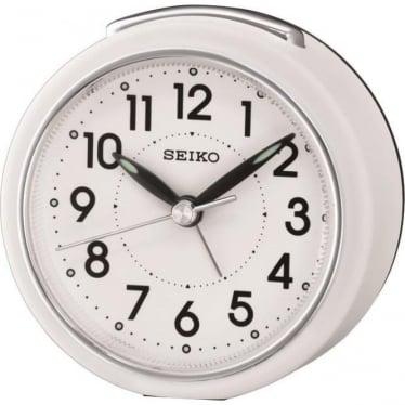 Seiko Alarm Clock with Light, Snooze - White QHE125W