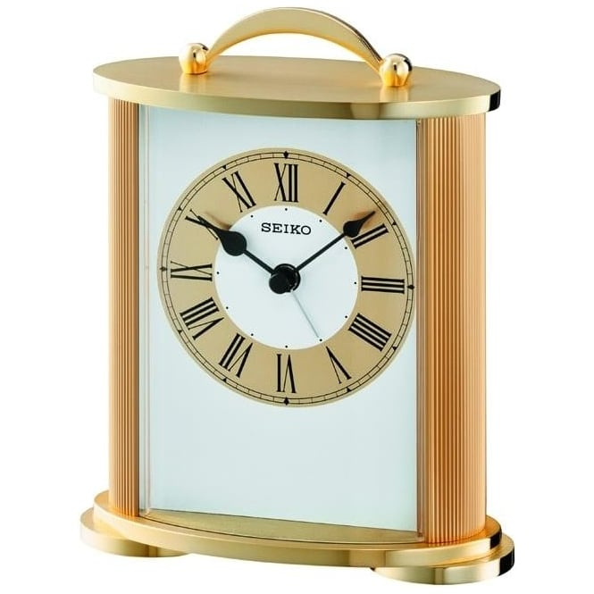 seiko brass finish battery mantle clock qhe092g