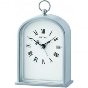 Silver Finish Quartz Battery Mantle Clock QHE162S