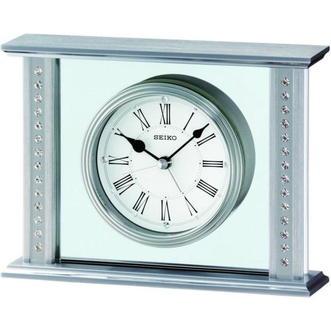 Seiko Clocks Silver Finish Seiko Mantle Clock QHE048S