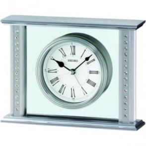 Silver Finish Seiko Mantle Clock QHE048S
