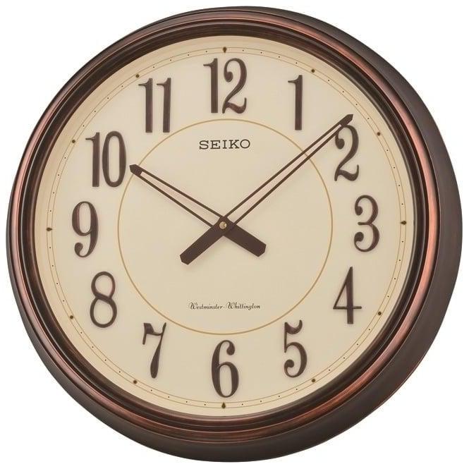 Seiko Clocks Wood Effect Round Battery Wall Clock QXD212B
