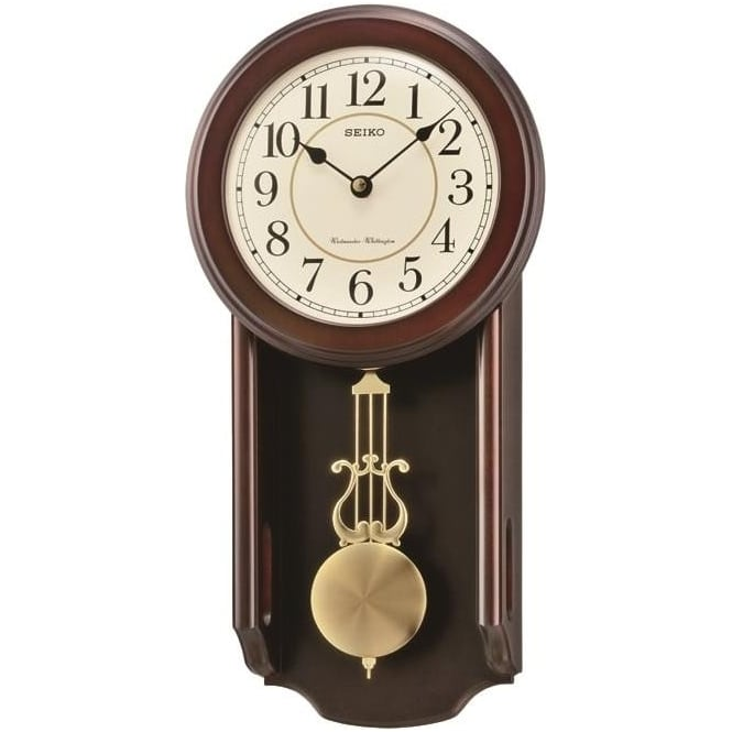 Seiko Wooden Pendulum Wall Clock Westminster Chime Qxh063b