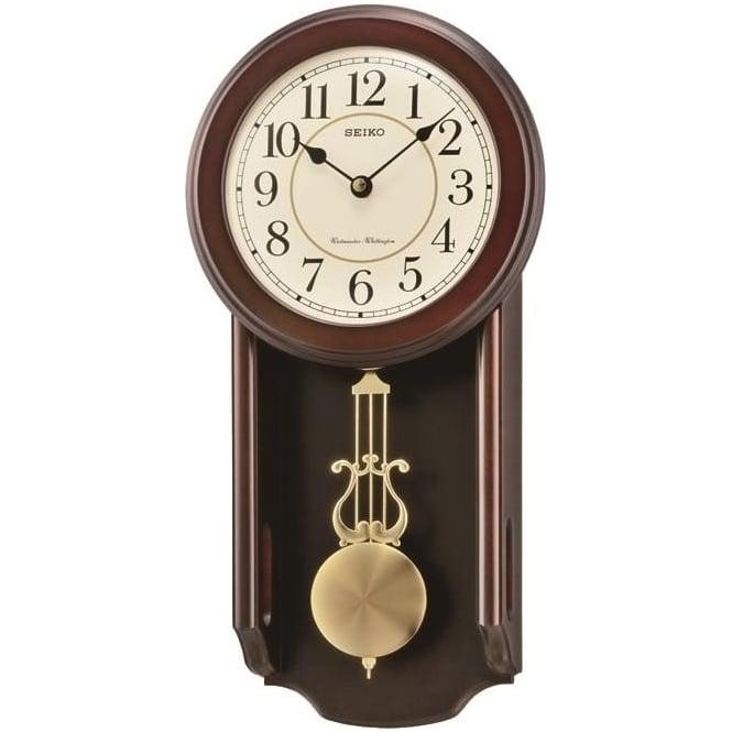 seiko wooden pendulum wall clock westminster chime qxh063b