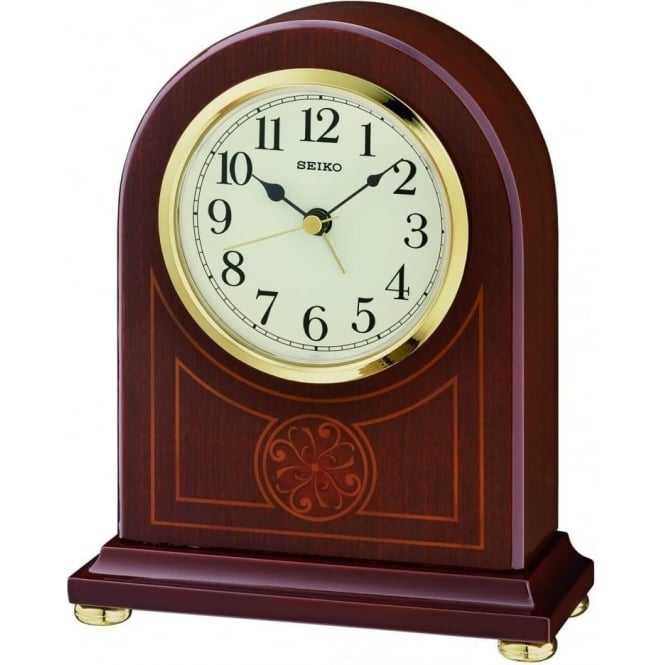 Seiko Clocks Seiko Dark Wooden Inlayed Quartz Battery Mantle Clock QXE057B