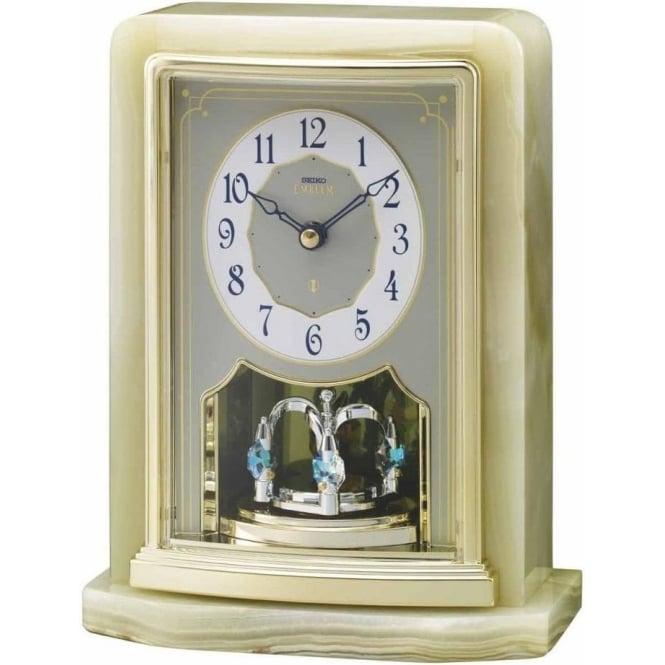 Seiko Clocks Seiko Emblem Battery Marble Gold Finish