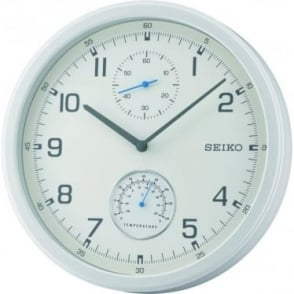 Seiko Round White Wall Clock with Temperature QXA542W