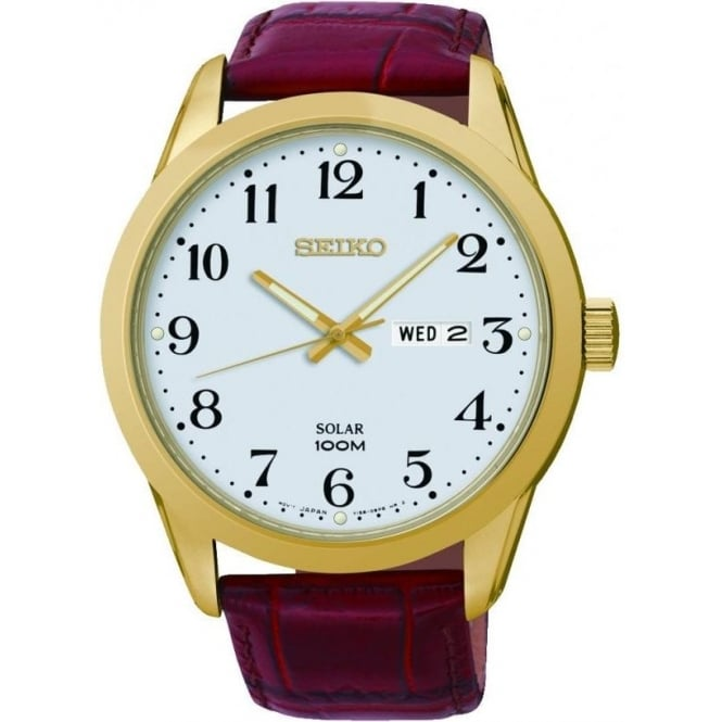 Seiko Watches Gents Gold Finish Solar Watch on Leather Strap SNE372P1