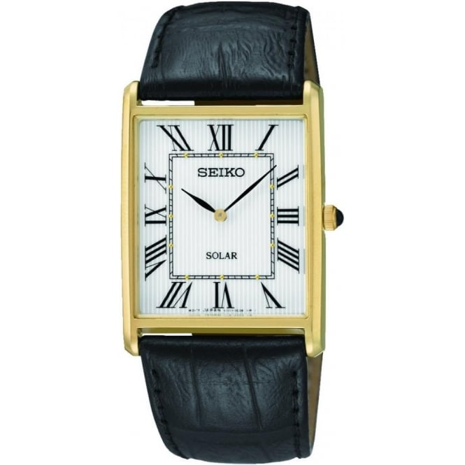 Seiko Watches Gents Gold Finish Solar Watch on Leather Strap SUP880P1