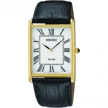 Gents Gold Finish Solar Watch on Leather Strap SUP880P1