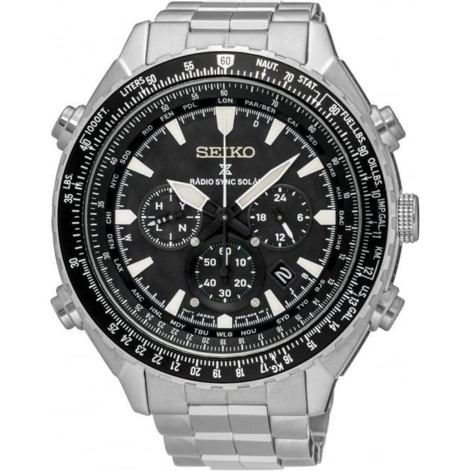 Seiko Watches Gents Radio Sync Solar Powered World Time Watch SSG001P1