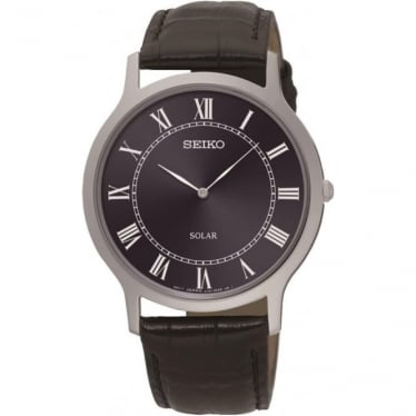 Gents Stainless Steel Seiko Solar Watch, Leather Strap SUP867P1