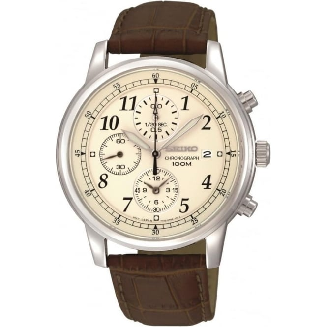 Seiko Watches Gent's Steel Seiko chronograph Watch on Leather Strap SNDC31P1