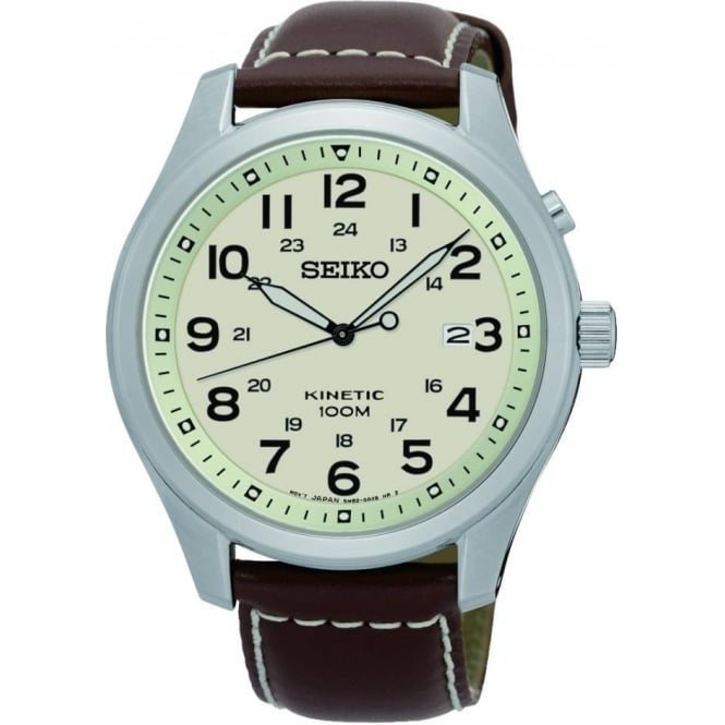 Seiko Watches Gents Steel Seiko Kinetic Watch on Leather Strap SKA723P1