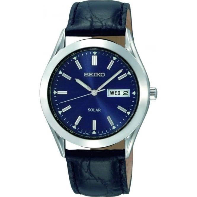 Seiko Watches Gents Steel Seiko Solar Watch on Leather Strap SNE049P9