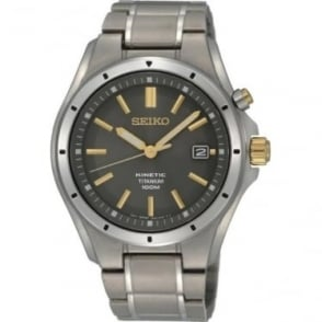 Gents Titanium Seiko Kinetic Bracelet Watch SKA495P1