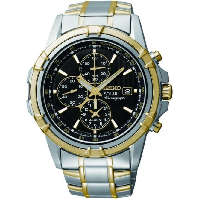 Seiko Watches Gents Two Tone Seiko Solar Chronograph Watch, Bracelet SSC142P1