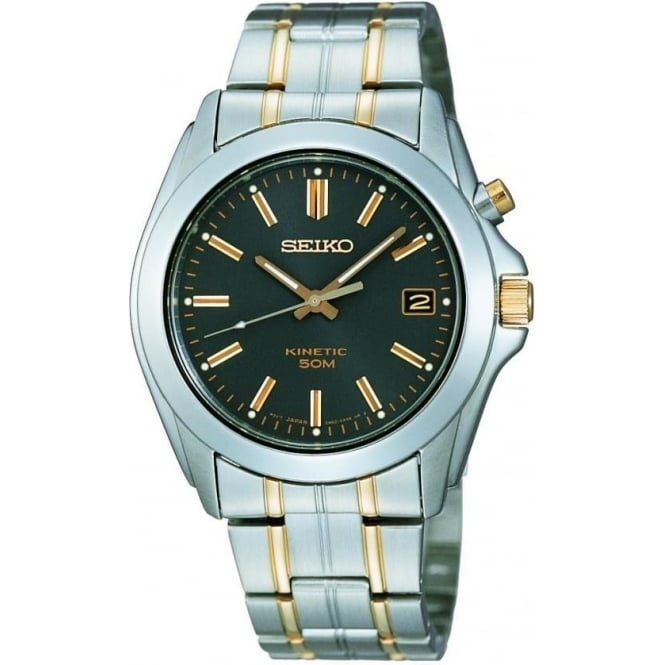 Seiko Watches Gents Two Tone Stainless Steel Kinetic Bracelet Watch SKA271P1