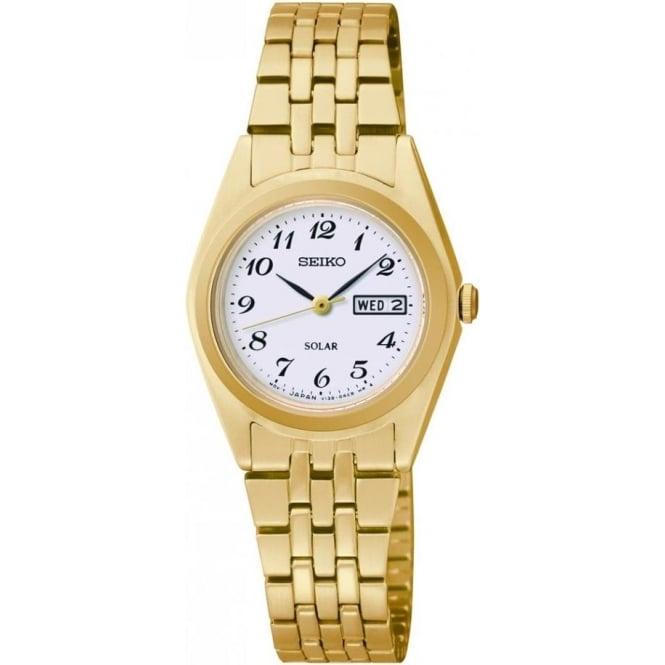 Seiko Watches Ladies Gold Tone Seiko Solar Bracelet Watch SUT118P9