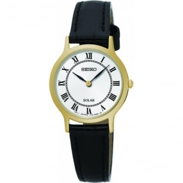 Ladies Gold Tone Seiko Solar Watch on Leather Strap SUP304P1