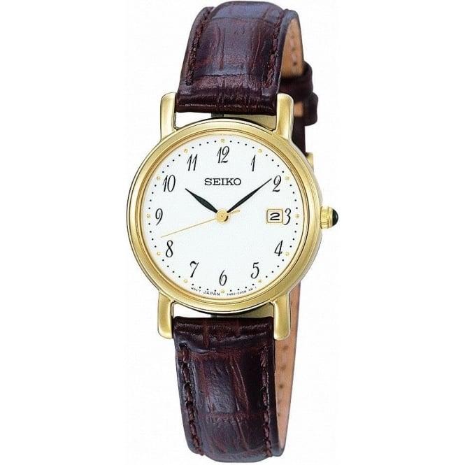 Seiko Watches Ladies Gold Tone Seiko Strap Watch SXDA14P1