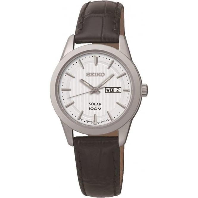 Seiko Watches Ladies Steel Seiko Solar Watch on Leather Strap & Date SUT159P2