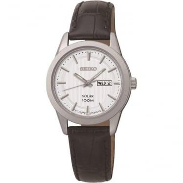 Ladies Steel Seiko Solar Watch on Leather Strap & Date SUT159P2