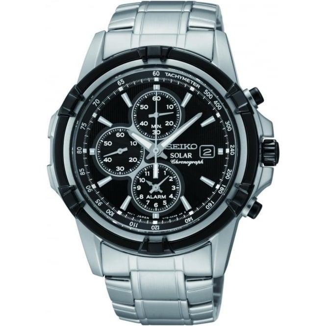 Seiko Watches Mens Steel Seiko Solar Alarm Chronograph Bracelet Watch SSC147P1