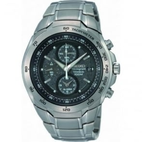 Seiko Men's Titanium Alarm Chronograph Watch SNAB91P1
